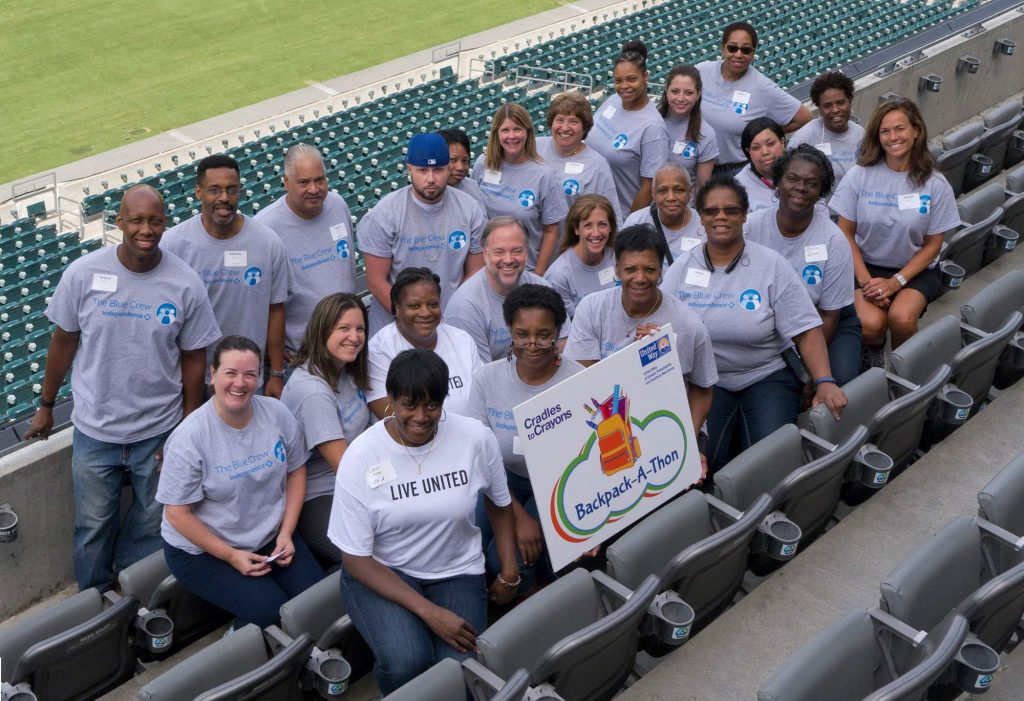 Independence Blue Cross Blue Crew Volunteers at Back Pack-a-thon