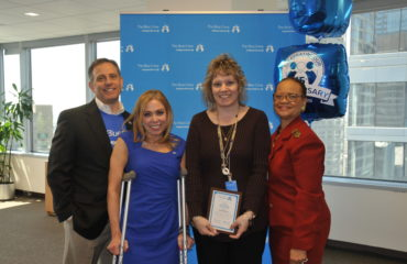 Blue Crew Volunteer Carol Dunleavy was acknowledged for all of her hard work and efforts with the Blue Crew.