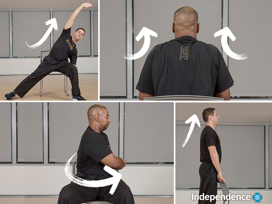 Collage of the exercises in the article being demonstrated