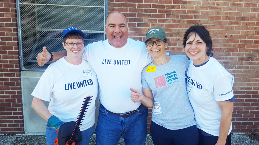 Pictured: Gabrielle King, Peter Panageas, Monika Kreidie, Development Associate for TP4C, and Raffaella Bucco. Peter traveled to American Red Cross Eastern Pennsylvania Region, Frankford High School, AstraZeneca Hope Lodge-American Cancer Society and Variety - the Children's Charity of the Delaware Valley in celebration of United Way #DaysofCaring.
