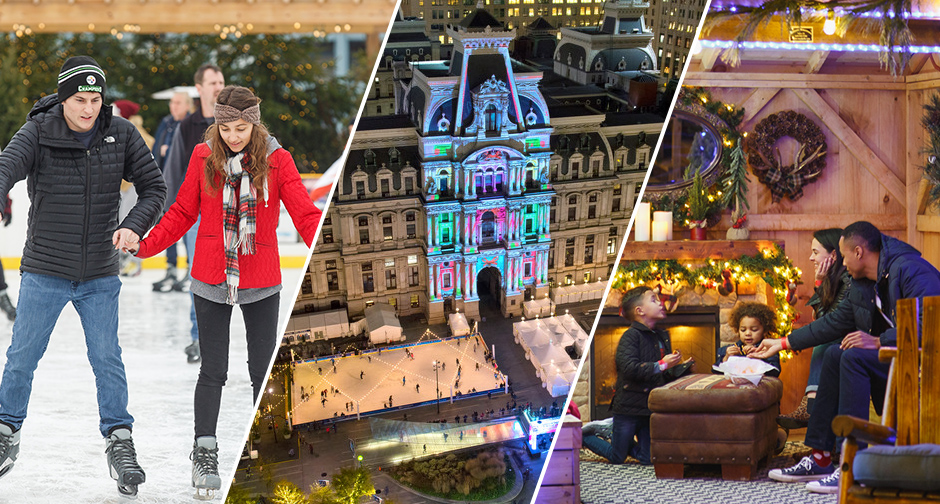 People enjoying Philadelphia holiday attractions- the RiverRink, the Deck the Hall light show at Dilworth Park, a family enjoying a cozy fire