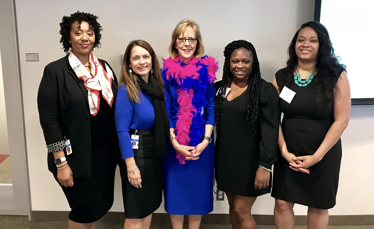 Kaphesia Jones, Karey Cain, Dr. Marianne T. Ritchie of Thomas Jefferson University, Ashley Millhouse, and Danielle Fennell at the 2018 #BeCancerAware with Preventative Care Event