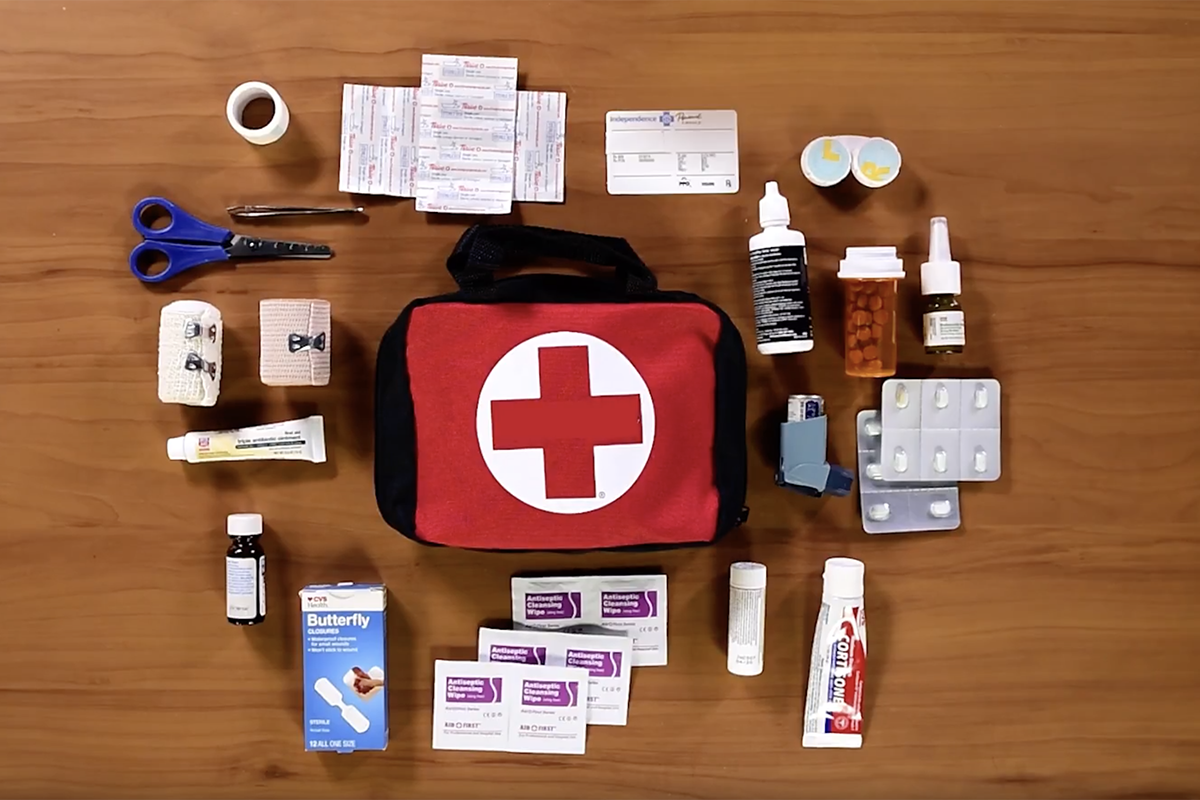 A fully-stocked first-aid kit and its contents