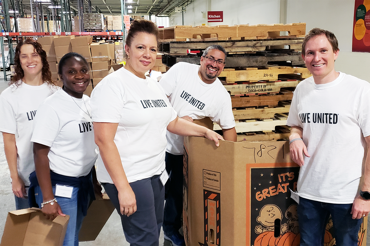 Blue Crew volunteers working in a United Way facility
