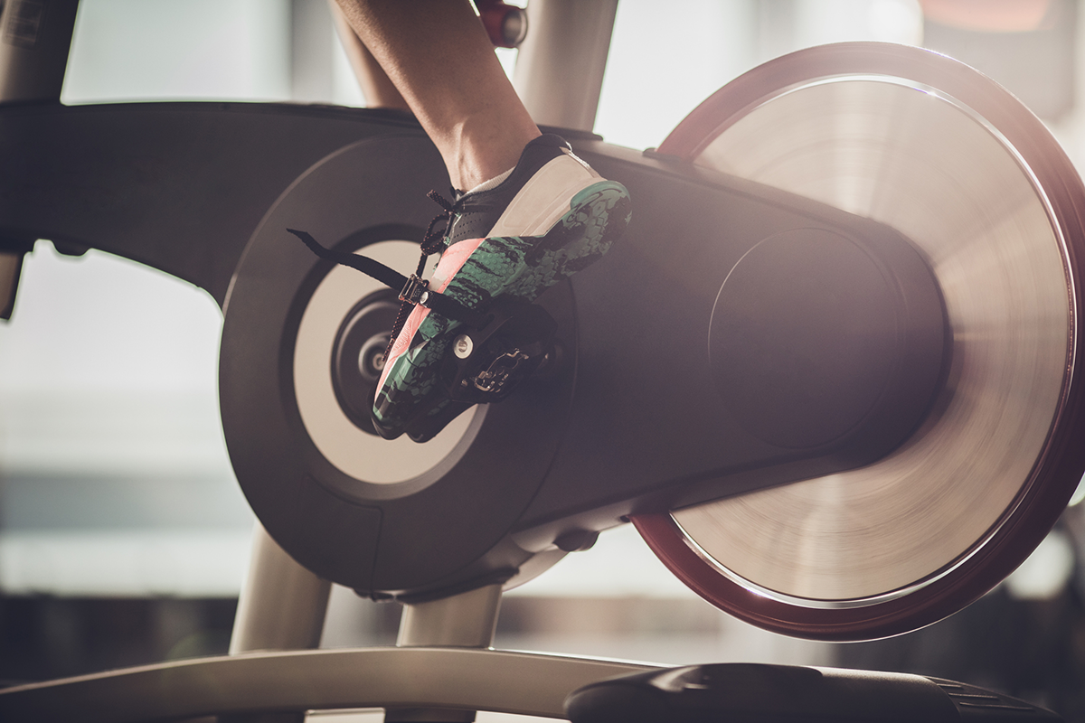 Closeup of an exercise bike