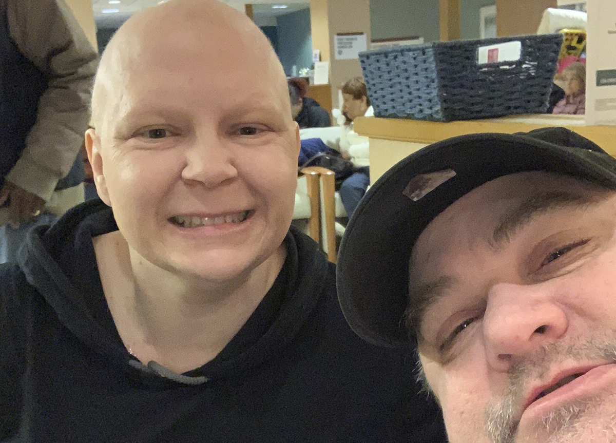 My husband Bill and I on my last day of chemo