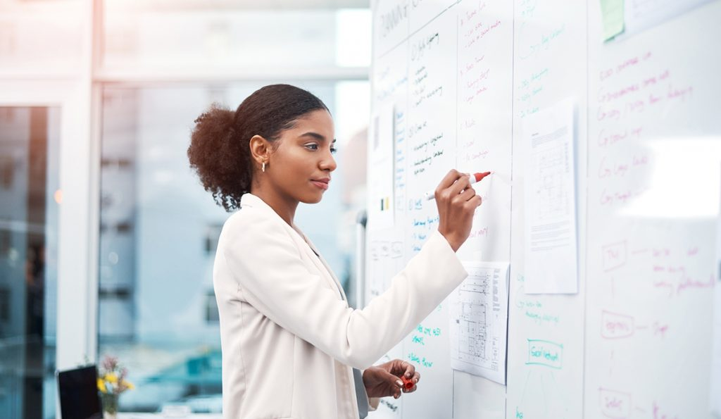 Shot of a young businesswoman brainstorming on a whiteboard in modern office
