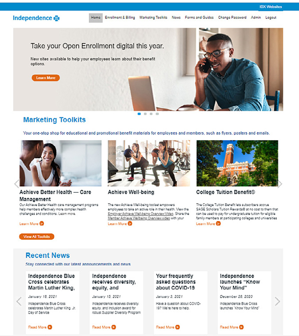 Screengrab of the IBX employer portal homepage