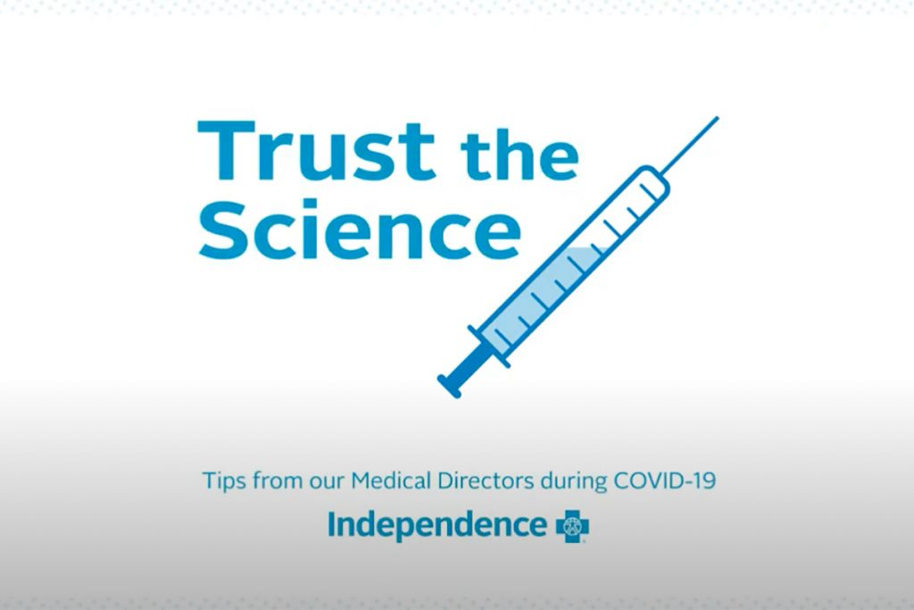 Text reading Trust the Science - Tips from our Medical Directors during COVID-19
