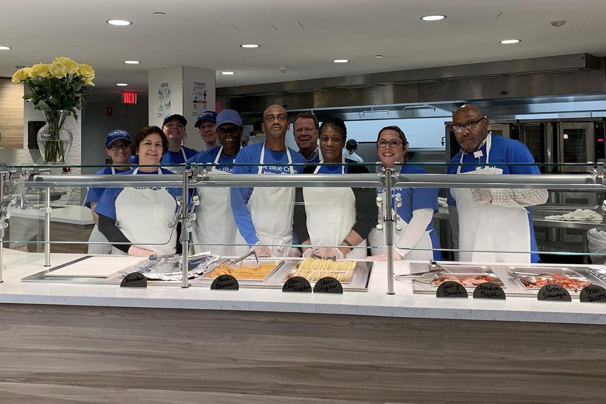 Members of the Blue Crew, volunteering at the Ronald McDonald House Philadelphia in 2019.