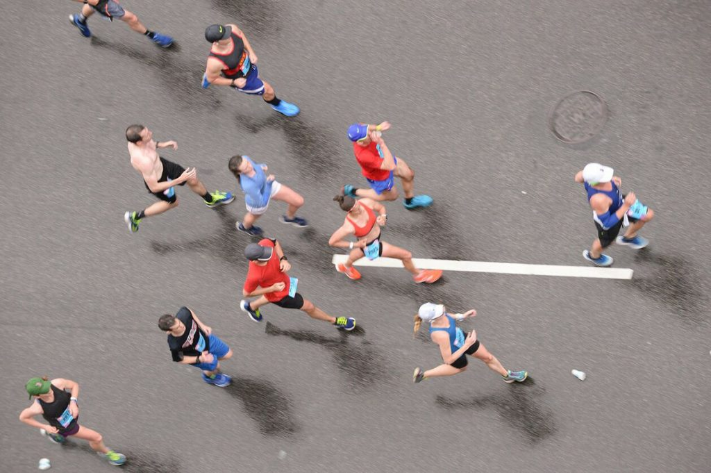 From overhead, runners participating in a past Broad Street Run