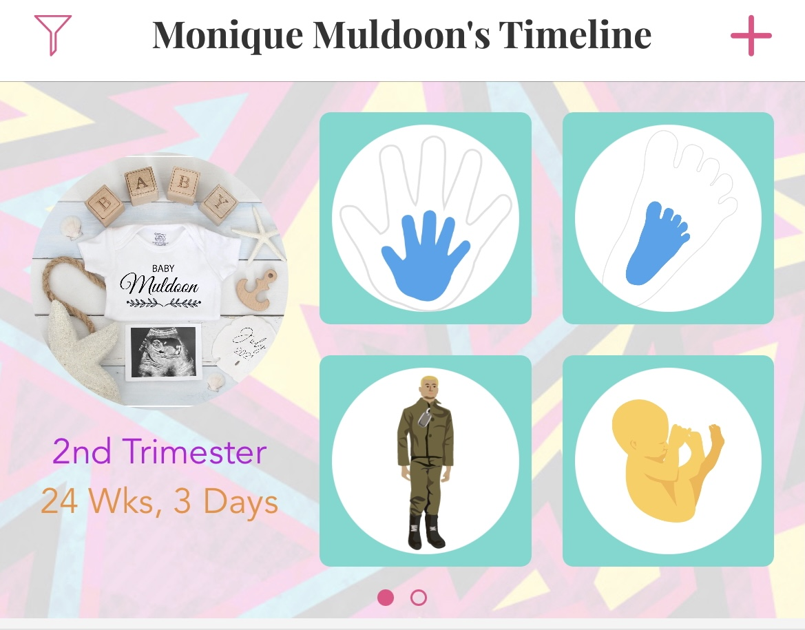 Screenshot from Ovia: Monique Muldoon's Timeline